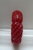 Bakelite  Carved Chunky Red Bangle