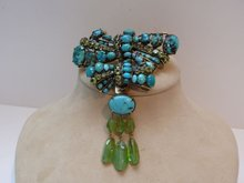 Iradj Moini Turquoise & Peridot Bow Brooch