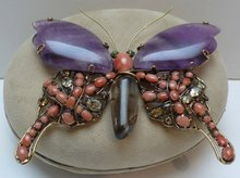 Iradj Moini Amethyst & Coral Butterfly Brooch