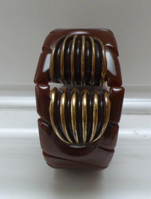 Bakelite & Metal Brown Hinged Bangle