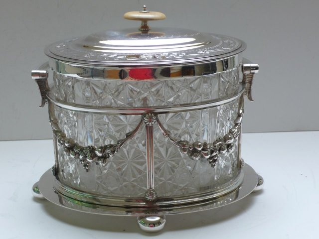 Victorian Silver Plate and Glass Biscuit Box