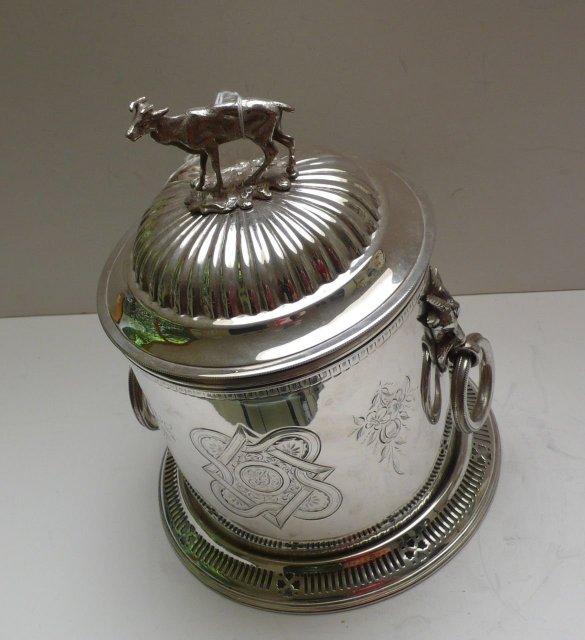 Victorian Silver Plate Biscuit Box/Deer Handle