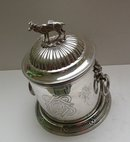 Victorian Silver Plate Biscuit Box/Deer Handle