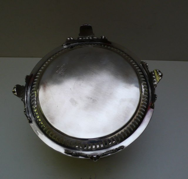 Victorian Silver Plate Round Biscuit Box