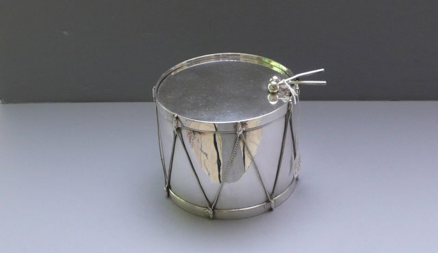 Victorian Silver Plate Drum Biscuit Box