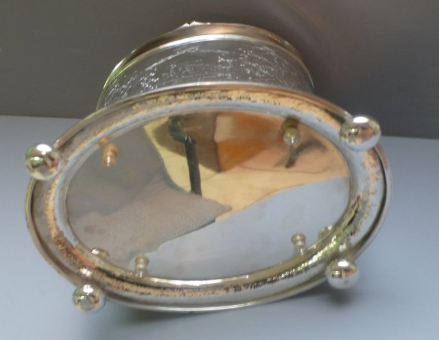 Victorian Oval Silver Plate Deer Finial Biscuit Box