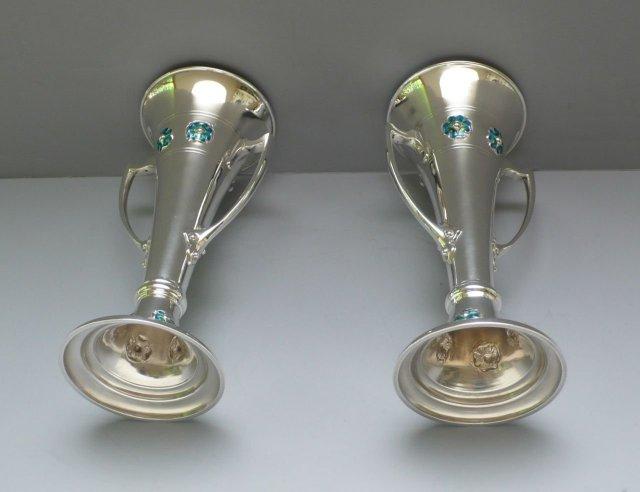 English Sterling Silver / Enamel Vases