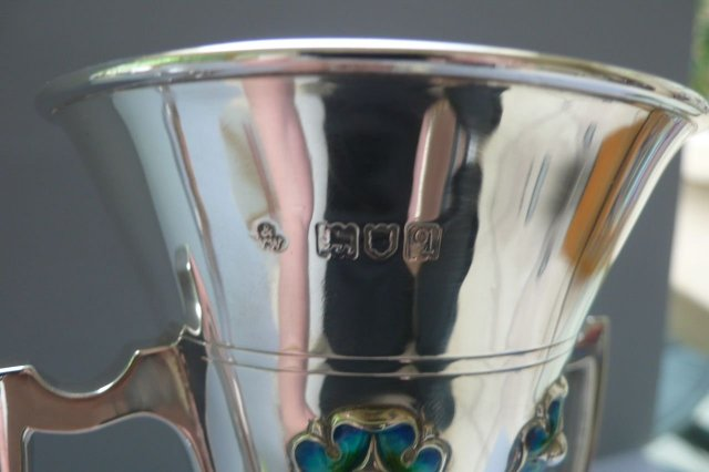 English Sterling Silver / Enamel Vases