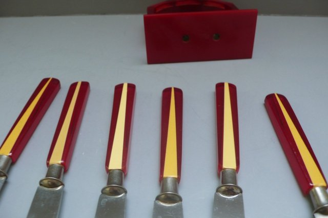 Bakelite Fruit Knives with Stand