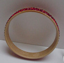 Celluloid Vintage Bangle with Red Rhinestones