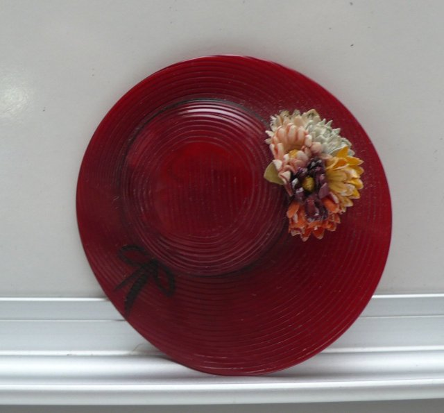 Bakelite Vintage Red Flower Hat