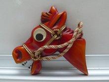 Bakelite Vintage Google Eyed Horse Brooch