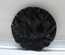 Bakelite Vintage Large Black Flower Brooch