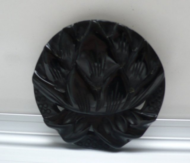 Bakelite Vintage Large Black Flower Brooch