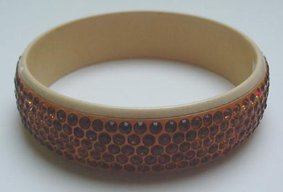 Celluloid Bangle with gold rhinestones