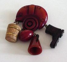 Bakelite Football Helmet With Dangles Brooch