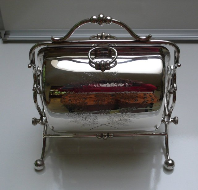 Victorian Silver Plate Rectangular Folding Biscuit Box