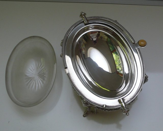 Victorian Silver Plate Revolving Top Chased Butter Dish