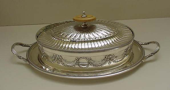 Antique Silver Plated Oval Butter Dish