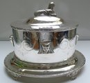 Victorian Silver Plate Oval Egyptian Design Biscuit Box