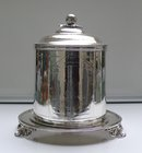 Victorian Silver Plate Round Biscuit Box with Dog Etching