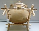 Victorian Gilded Silver Plate Beehive Biscuit Box/Liner