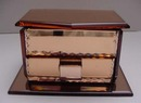 English Deco Peach Glass Jewelry Box