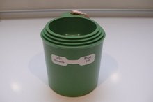 Bakelite Vintage Set of Stacking Green Measuring Cups