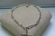 Victorian Sterling Silver Double  Prince Albert Chain Necklace