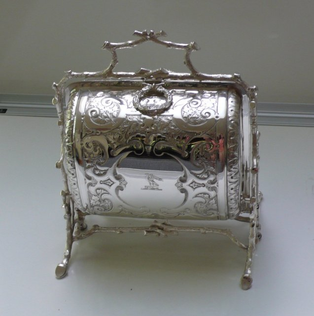 Victorian Silver Plate Embossed Folding Biscuit  Box
