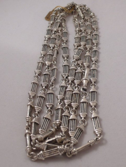 Victorian Sterling Silver long  chain link necklace