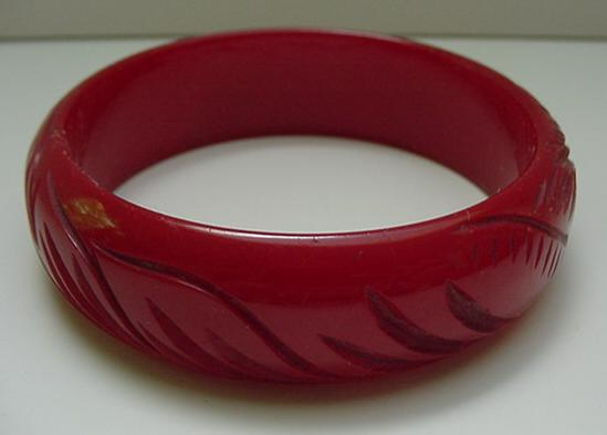 Bakelite Deep Red Carved Leaf Bracelet