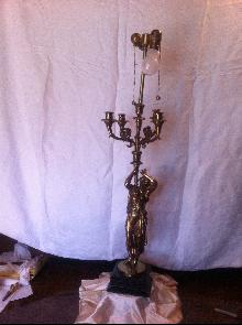 French Bronze Greek Figurals Candelabra Lamps
