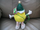 M&M Plush Yellow Christmas Tree Figure with Faux Lights and Poseable Legs
