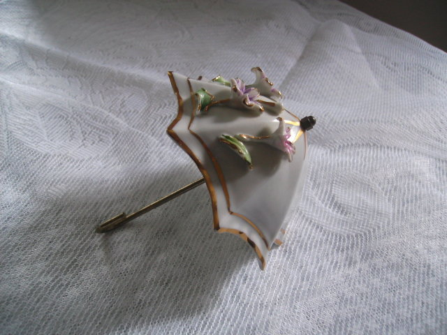Signed Capodimonte Porcelain Umbrella