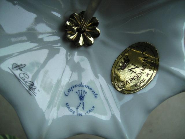 Signed Capodimonte Porcelain Umbrella
