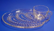 Snack Plate and Cup Set by Federal Glass Co - Homestead