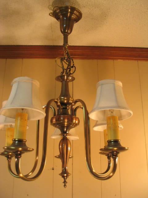 Vintage 5-Lite Colonel Style Chandelier