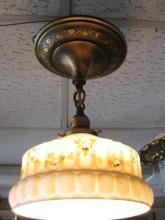 Vintage Single Light Hanging Fixture w/Shade