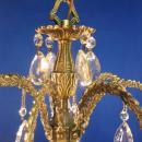 Vintage Mid century 5 Light Hanging Chandelier w/ Crystal