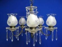1940s Crystal and Brass Chandelier