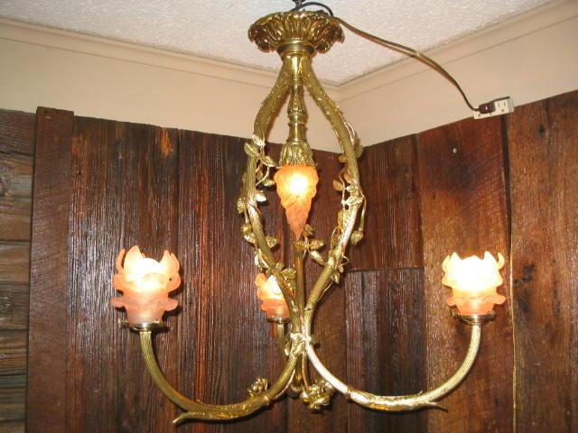 Vintage Ornate Brass French Chandelier