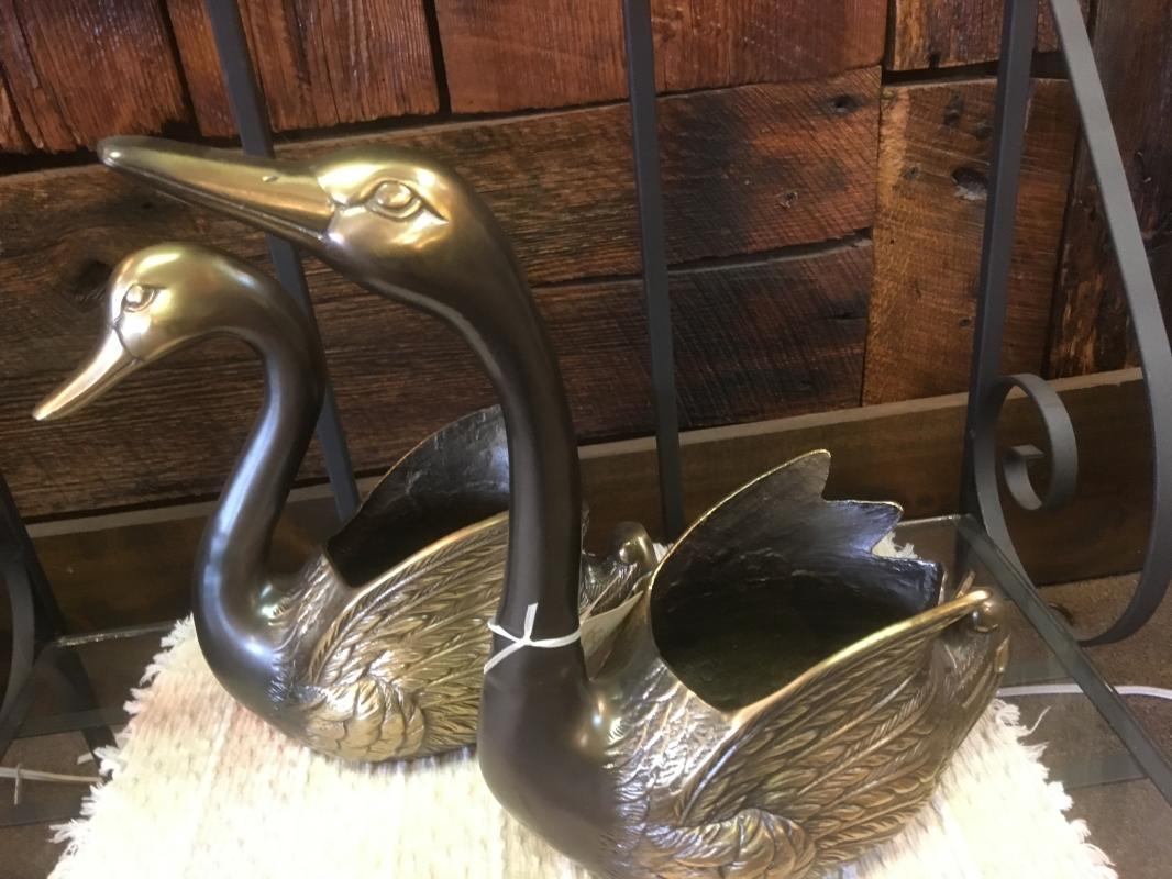 Vintage Pair of Heavy BRASS Swan Planters