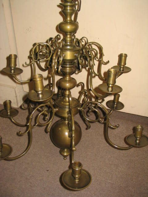 12 Arm Solid Brass Candle Chandelier