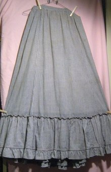 Victorian Prairie Skirt Brown/Wht Gingham