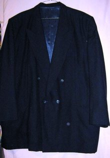 Vintage Gabardine Navy Blue Suit Jacket
