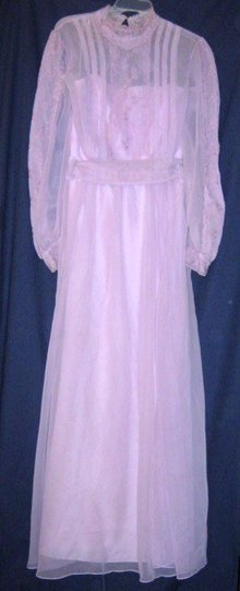 Vintage 1970 Prom Dress Embroidered Lavender