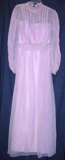 Vintage 1970 Prom Dress Embroidered Lavender