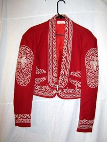 Mexican Charro Jacket Red White Wool