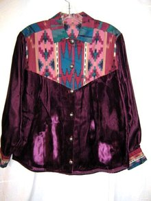 Navajo Shirt Silk Velvet Cotton Retro